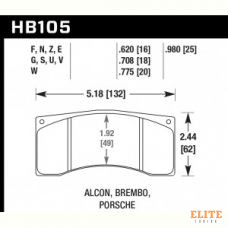 Колодки тормозные HB105U.775 HAWK DTC-70 Brembo, Alcon 20 mm