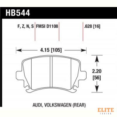 Колодки тормозные HB544Z.628 HAWK PC задние AUDI TT 8J, A6, Allroad 4H, A3 / VW Golf 5,6 , Passat CC