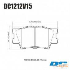Колодки тормозные DC1212V15 DC brakes Street STR.S, задние TOYOTA CAMRY 2007-> / RAV 4 2005->
