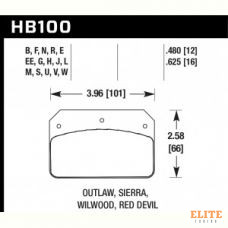 Колодки тормозные HB100EE.480 HAWK Blue 42; Wilwood DL, Outlaw, Sierra 12mm