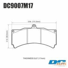 Колодки тормозные DC9007M17 DC brakes Race Track PROMA 6 порш, Stop Tech, JBT, Alcon, HPB, XYZ 18 mm