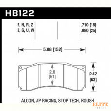 Колодки тормозные HB122F.980 HAWK HPS; 25mm