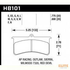 Колодки тормозные HB101V.800 HAWK DTC-50; Wilwood SL, AP Racing, Outlaw 20mm