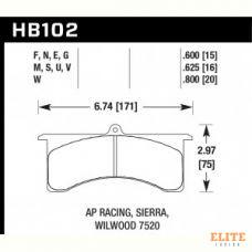 Колодки тормозные HB102W.600 HAWK DTC-30; AP Racing 6, Sierra/JFZ, Wilwood 15mm