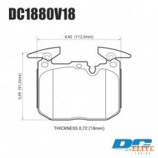 Колодки тормозные DC1880V18 DC brakes Street STR.S, перед BMW M4 F82, F32; M3 F80 F30; F20 F22 F87 M