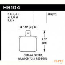 Колодки тормозные HB104U.485 HAWK DTC-70; Wilwood DL Single, Outlaw w/ 0.156 in. center hole 13mm