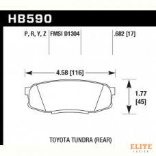 Колодки тормозные HB590Y.682 HAWK LTS задн. Pajero 4 / Lexus LX570, LX450D / Toyota LC200 Tundra