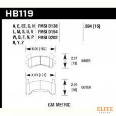 Колодки тормозные HB119R.594 HAWK Street Race
