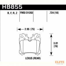 Колодки тормозные HB855Z.724 HAWK PC Lexus LS (F4), LS350, LS500 2017->  задние
