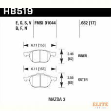 Колодки тормозные HB519N.682 HAWK HP Plus