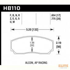 Колодки тормозные HB110N.654 HAWK HP Plus; AP Racing, Alcon, Proma 4 порш; HPB тип 2, Rotora,17mm