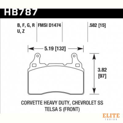 Колодки тормозные HB787N.582 перед TESLA S; Corvette 2014-> ; Camaro 2010->