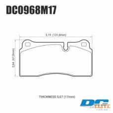 Колодки тормозные DC0968M17 DC brakes Race Track, Brembo тип B, H, P / Rotora FC4 / Nissan GTR R35