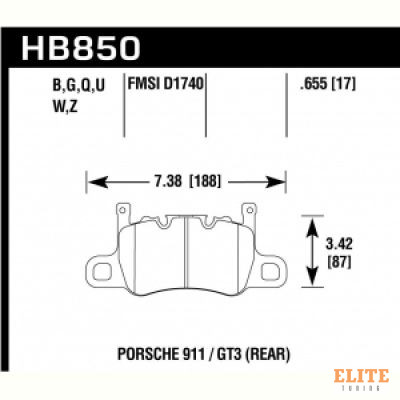 Колодки тормозные HB850N.655 PORSCHE 911 (991) GT3, GT3 RS/R; CAYMAN (981) 3.8 GT4