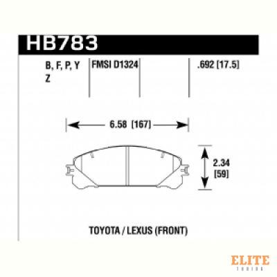 Колодки тормозные HB783Y.692 HAWK LTS; перед RX350 2010-> ; HIGHLANDER 2010->