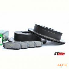 КОМПЛЕКТ ЗАДНИЙ: Тормозные диски DBA 2723ES T2+колодки HAWK LTS Toyota LC 200,Lexus LX570, LX450D