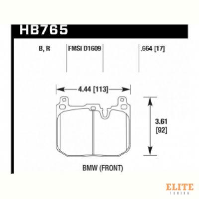 Колодки тормозные HB765N.664 HAWK HP Plus; перед BMW M4 F82, F32; M3 F80 F30; F20 F22 F87 M-Perf
