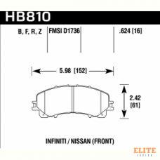 Колодки тормозные HB810Z.624 HAWK PC  перед INFINITI Q50 2013-> ; QX50 2018-> ; Q60 2016->