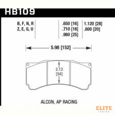 Колодки тормозные HB109F.710 HAWK HPS (БЕЗ УШКА) PROMA 6 порш; StopTech; AP RACING; HPB тип 3; 18 mm