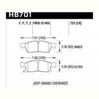 Колодки тормозные HB701Y.723 HAWK LTS передние Jeep Grand Cherokee WK2/Dodge Durango 2011+