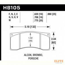 Колодки тормозные HB105S.620 HAWK HT-10; Brembo 16mm
