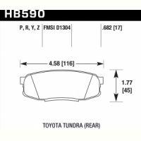 Колодки тормозные HB590Z.682 HAWK PC задн. Pajero 4, Lexus LX570, LX450D, Toyota LC200, Tundra