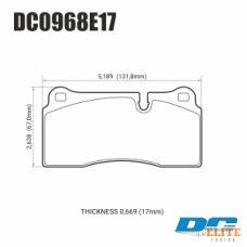 Колодки тормозные DC0968E17 DC Brakes RT.2 Brembo тип B, H, P / Rotora FC4 / Nissan GTR R35