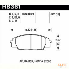 Колодки тормозные HB361N.622 HAWK HP+ передние Honda Civic EP3 Type-R