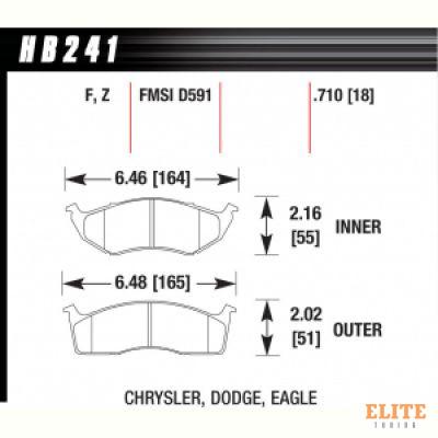 Колодки тормозные HB241F.710 HAWK HPS; 18mm
