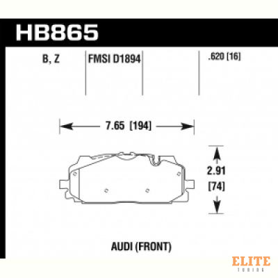 Колодки тормозные HB865B.620 перед A4 B9; A5 F53; Q5 FYB; Q7 4MB; Akebono;