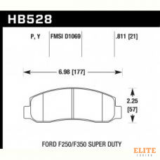 Колодки тормозные HB528P.811 HAWK SuperDuty перед Ford F250, F350