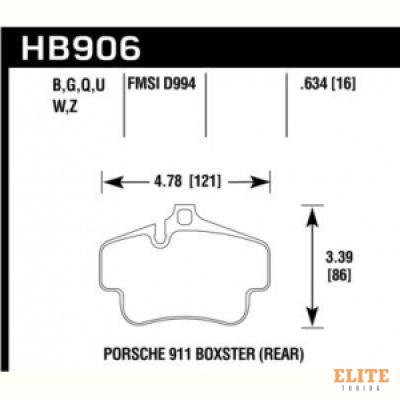 Колодки тормозные HB906B.634 HAWK HPS 5.0 задн PORSCHE 718 Cayman, Boxter; 997 3,6 05-09; 996 97-05