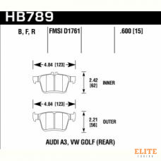 Колодки тормозные HB789F.600 HAWK HPS, задние A3 8V; TT 8S; GOLF 7; PASSAT 3G;