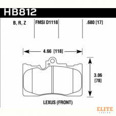 Колодки тормозные HB812Z.680 HAWK PC перед Toyota Celsior 4.3 (UCF3) Lexus GS 2005-> ; IS III 2015->