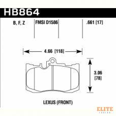 Колодки тормозные HB864F.661 HAWK HPS перед Toyota Celsior 4.3 (UCF3) Lexus GS 2005-> ; IS III