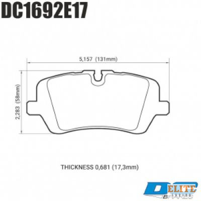 Колодки тормозные DC1692E17 DC brakes RT.2, задние RANGE ROVER SPORT; IV; DISCOVERY V;