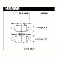 Колодки тормозные HB599F.616 HAWK HPS передние INFINITI G35, G37 (комплектация sport) /  EX35 , EX37