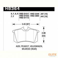 Колодки тормозные HB364F.587 HAWK HPS Audi A3, A4, A6, A8, S3, S4, S6, S8 & TT - Rear