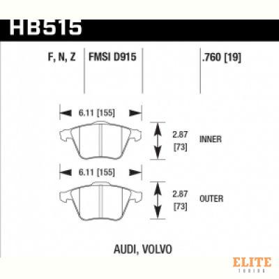 Колодки тормозные HB515N.760 HAWK HP+ передние Audi / VW