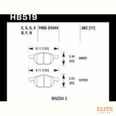 Колодки тормозные HB519F.682 HAWK HPS передние FORD FOCUS 2 , 3/ MAZDA 3, 5