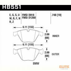 Колодки тормозные HB551B.748 HAWK Street 5.0 передние BMW 3 (E90,91,92) 335i,  M3 E90, 5 E60, 6 E63,