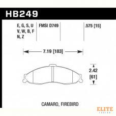 Колодки тормозные HB249E.575 HAWK Blue 9012; Camaro, Firebird 15mm