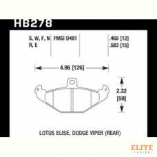 Колодки тормозные HB278F.583 HAWK HPS задние DODGE / RENAULT