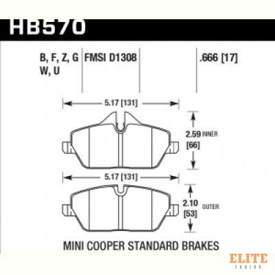 Колодки тормозные HB570N.666 HAWK HP Plus передние MINI COOPER 2 (R56) / BMW 1 (E87) 116i, 118i