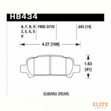 Колодки тормозные HB434F.543 HAWK HPS задние Subaru Forester, Impreza, Legacy