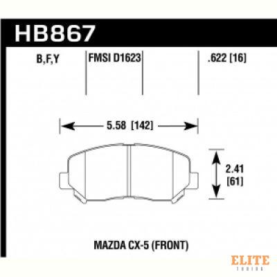 Колодки тормозные HB867Y.622 перед Mazda CX-5; CX-8