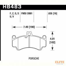 Колодки тормозные HB483F.635 HAWK HPS передние PORSCHE 911 (996), (997), GT2, GT3 Cup, CARRERA GT