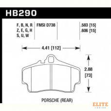 Колодки тормозные HB290N.606 HAWK HP+ задние PORSCHE 911 (997), (986), (996), Cayman