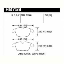 Колодки тормозные HB759B.750 HAWK Street 5.0 перед Range Rover EVOQUE; FREELANDER MK2; XC70; V70
