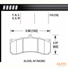 Колодки тормозные HB688B.710 HAWK HPS 5.0 PROMA 6 порш, AP Racing, Stop Tech, JBT, Alcon, HPB, XYZ